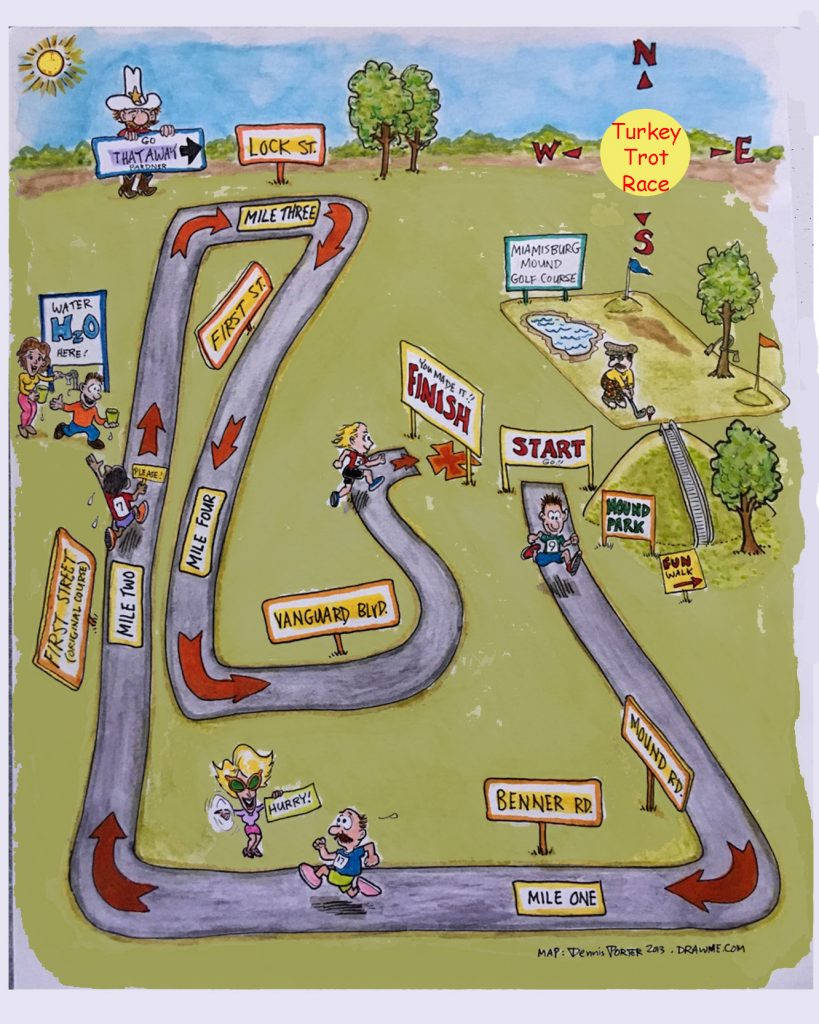 Cartoon City Map, Turkey Trot Race