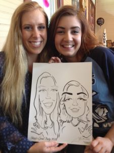 Caricatures of two college students