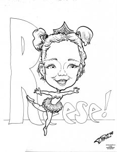Caricature of little ballerina