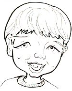 BW line drawing caricature of face