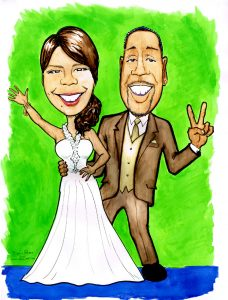 Large color drawing of bride and groom