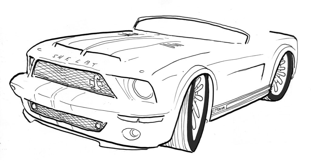 Cartoon of Shelby Mustang