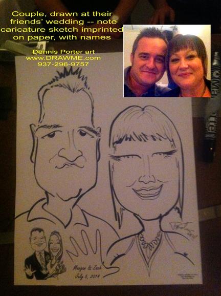 Couple drawn at wedding