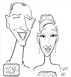 Drawn in the sixth hour of live sketching -- three minute caricature. Note imprint at bottom