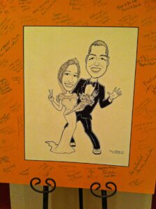 Drawing of bride and groom
