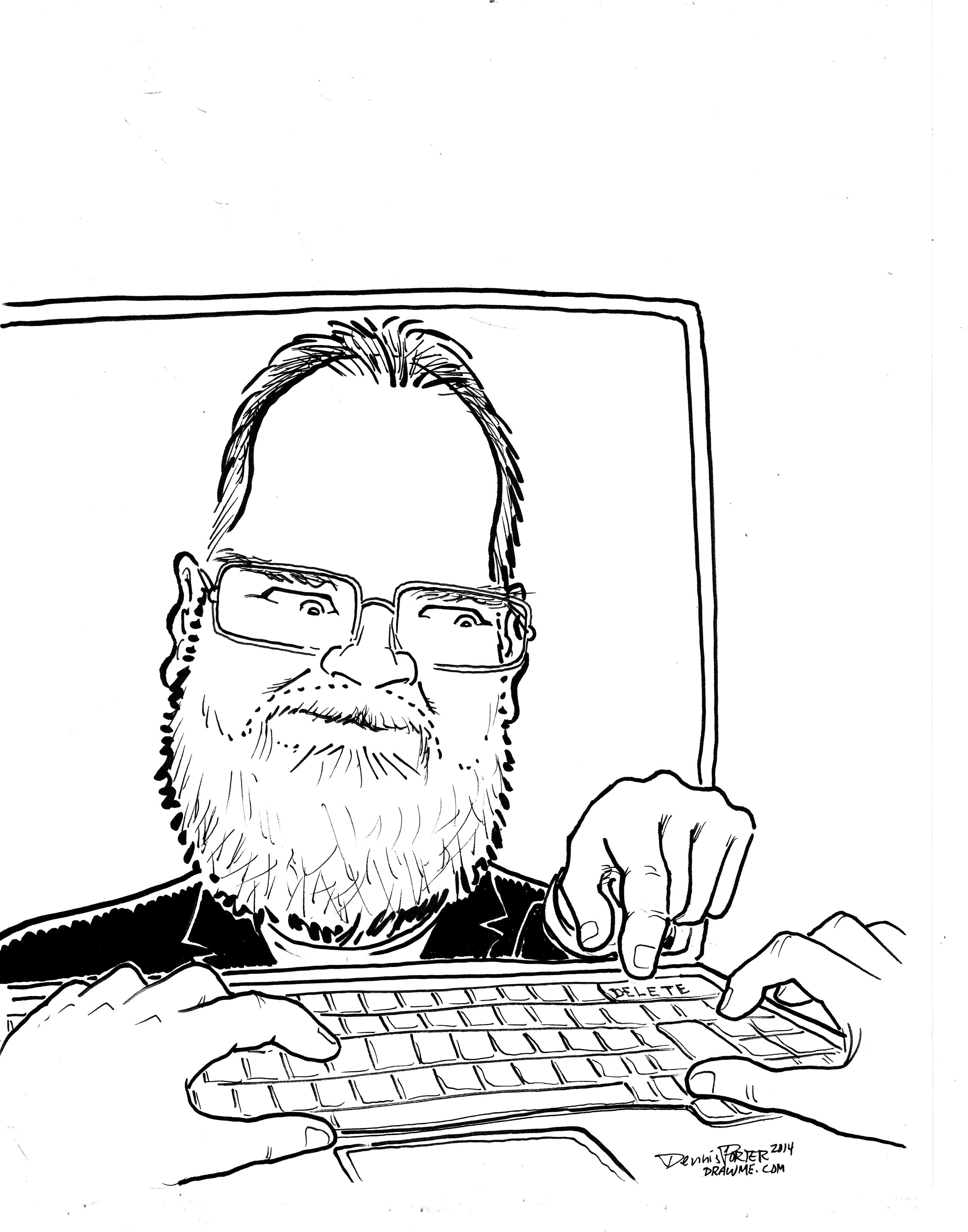 Geek guy caricature