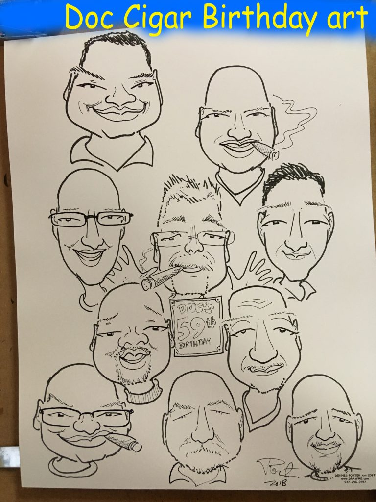 Caricature at birthday party