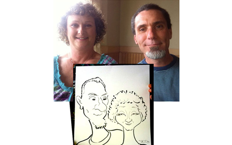 Husband and wife anniversary caricature drawing