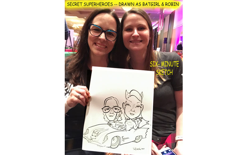 Girls at party enjoying caricature entertainment