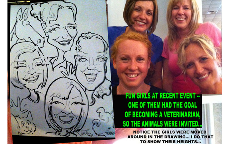 Family fun caricature party entertainment live