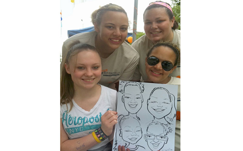 Party entertainment caricature, group