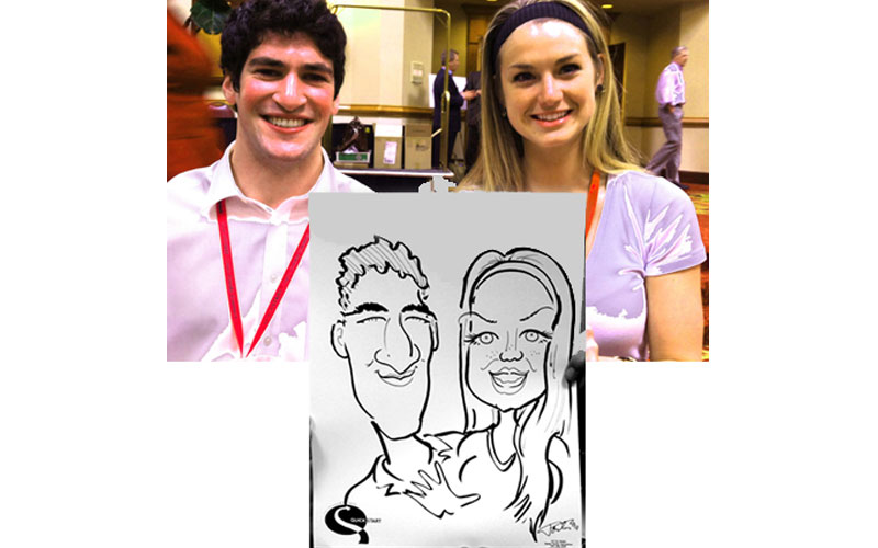 People at a convention have caricature drawn