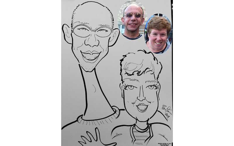 Husband and wife caricature