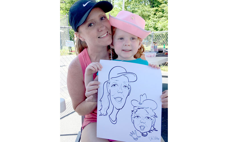 Mother and daughter caricature