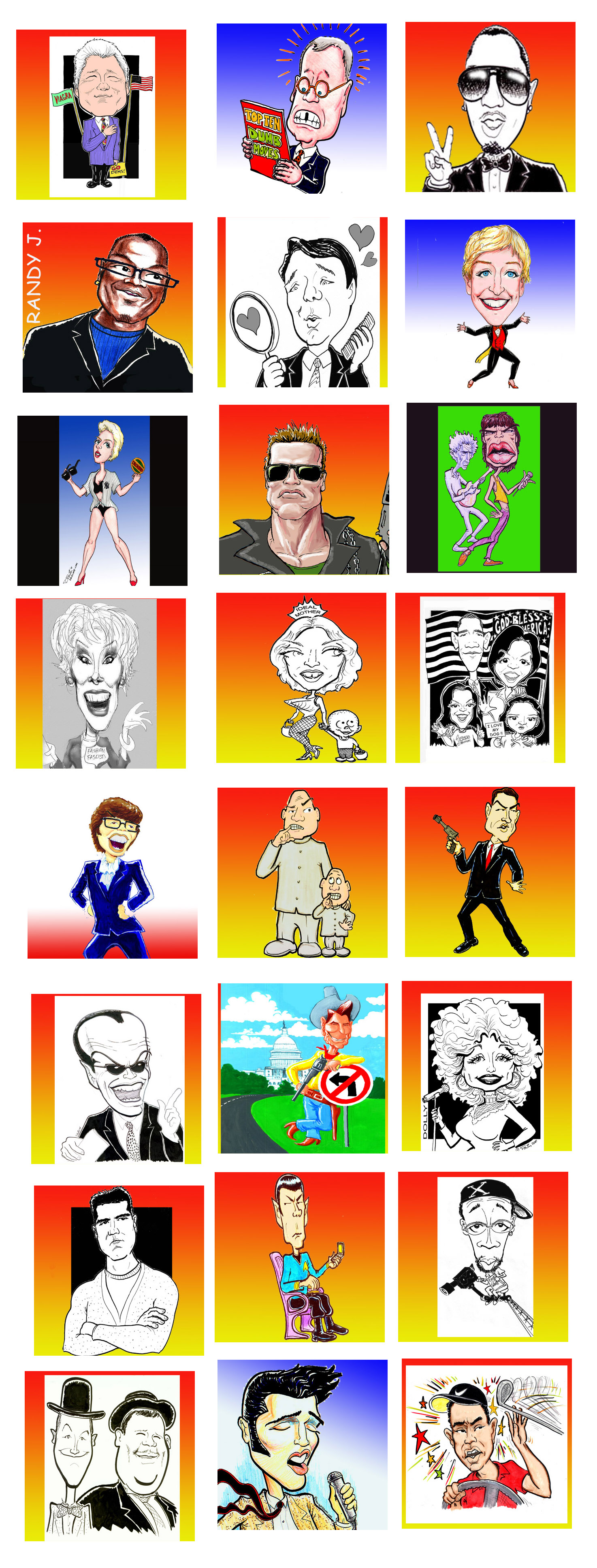 Caricatures of famous types