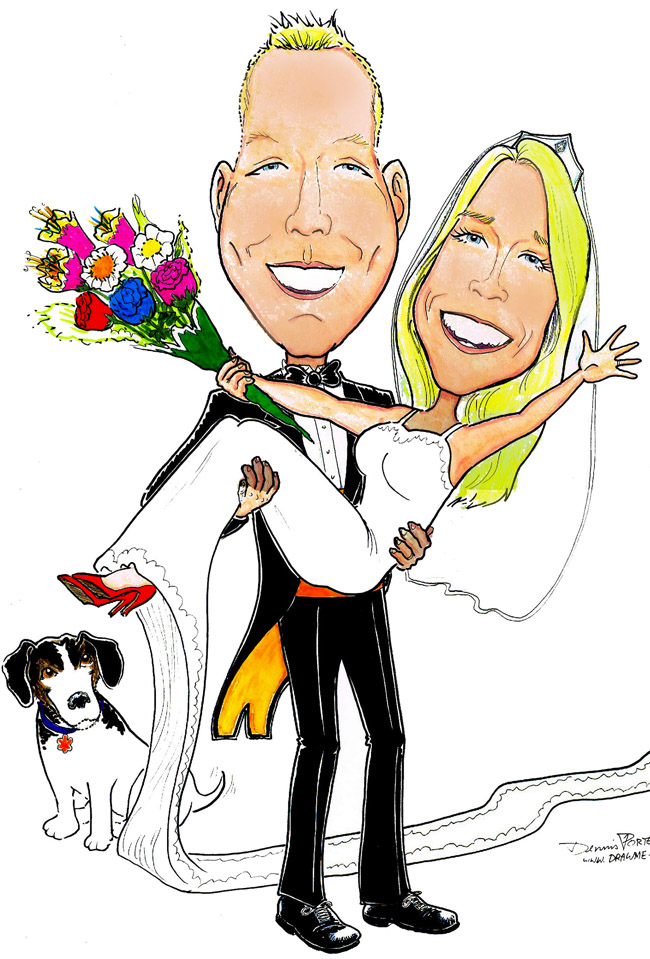 Bride and Groom, color caricature